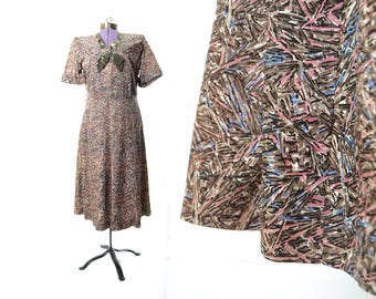 1940s Dress, 40s Dress, Large Dress, Plus Size Dress, Vintage DressVintage Clothing, Velvet and Print Dress, Green and Pink Dress
