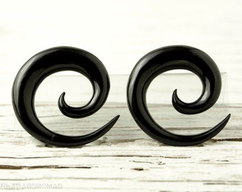 "Black Spiral Gauge Earrings Horn Gauges  16g 14g 12g 10g 8g 6g 4g 2g 0g 00g 1/2""  Expanders - GA002 H G1"