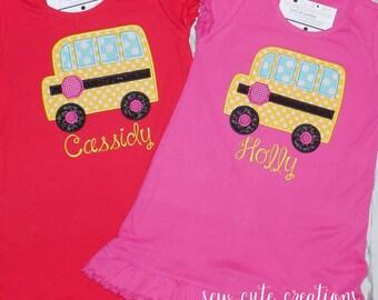 Back to School Dress, School Bus Dress, Back to school outfit, kindergarten, preschool, First day of school dress, sew cute creations