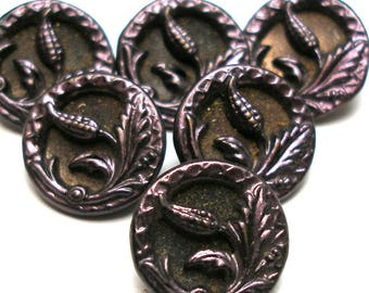 """6 Antique metal BUTTONS. Victorian floral design with purple tint. 9/16"""".  unused. Plant life."""