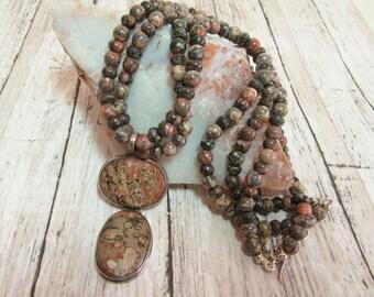 Leopard Skin Jasper Necklace, Leopard Skin Jasper Necklace and Pendant, Leopard Skin Jasper Jewelry, Leopard Skin Jasper Beads,Free Shipping