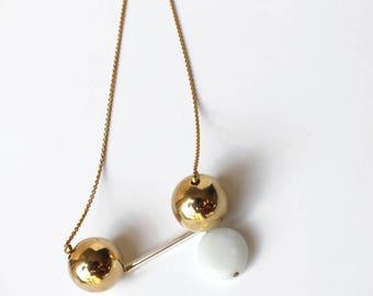 Ball bead sautoir, Vintage gold ball geometric necklace, Ball bead, Glass bead jewelry, Metal gold bead, Vintage bead, Asymetric necklace
