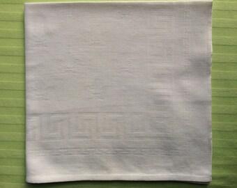 "White Cotton Damask Napkin with Fleur de Lis Motif 17""x17"""