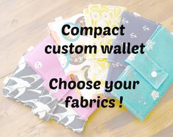 Custom wallet, customizable wallet, custom fabric wallet, wallet, custom, fabric wallet, vegan wallet, washable wallet, choose your fabrics