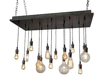16 Pendant Chandelier - Industrial Chandelier, Bare Bulb Chandelier, Kitchen Lighting