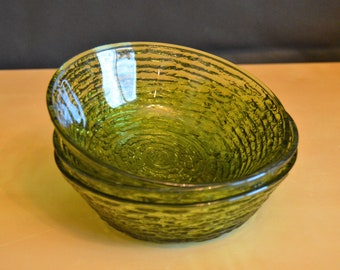 "Set of 3 Anchor Hocking SORENO Avocado Green 6"" Cereal Bowls, Green Textured Glass"
