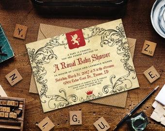 "Renfaire Baby Shower Invitation, Medieval Baby Shower Invitation, Printable 7"" x 5"" baby shower invitation"