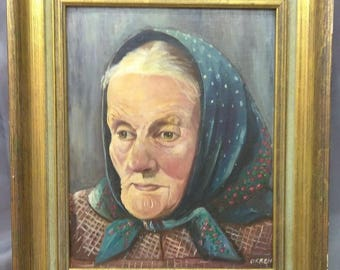 Old Vintage Antique Original Oil Painting Portrait of Old Woman Lady Wood Frame