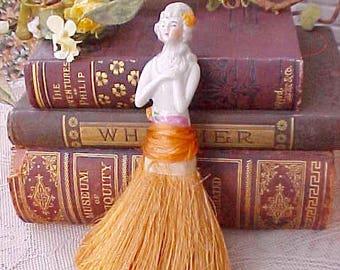 Pretty Art Deco Era Porcelain Half Doll Whisk Broom