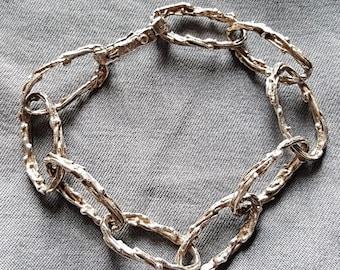 Handmade 1970s Silver 'Wire' Link Bracelet