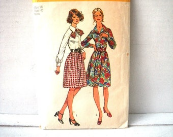 1970s Shirt Dress Pattern Simplicity 5238 Size 18 Bust 40 Waist 32 Hip 42