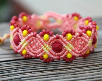 REDUCED Micro-Macrame Beaded Bracelet - Pink and Yellow