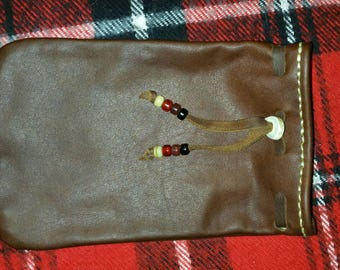 Hand sewn Oil Tanned Leather Bushcraft Gear Bag (Saddle Brown) survival possibles