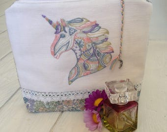 Unique-Gift-for-Girlfriend, Gift-for-Girlfriend, Gifts-for-Girls, Unique embroidered Gift for Women, Unique Make Up Bag, Pastel-Unicorn