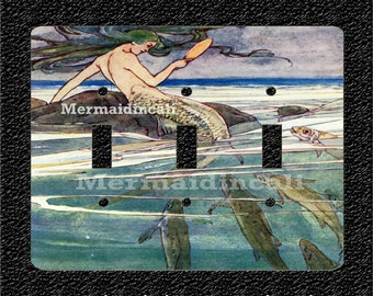 Mermaid with Mirror 1907 Peter Pan Triple Light Switch Plate Covers Toggle/Rocker