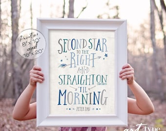 Second Star to the Right Straight on till Morning Peter Pan Quote INSTANT DOWNLOAD Printable Adventure Boys Nursery Room Wall Art Print