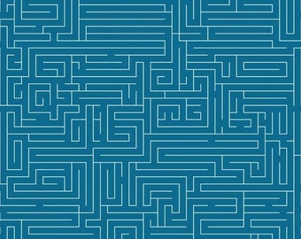 Riley Blake Maze Fabric, Teal and White Fabric By the Quarter Yard, Fat Quarter