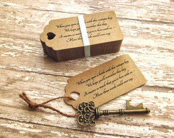 """Anniversary Party Favors - Skeleton Key BOTTLE OPENERS + """"Poem"""" Thank-You Tags - Set of 50 - Ships from United States - Victoria"""