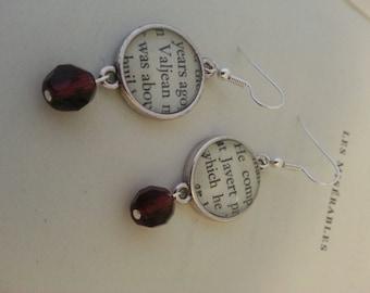 Les Miserables Jean Valjean and Javert Book Page Earrings
