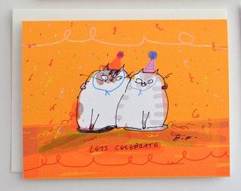 Lets Celebrate - Birthday Cat Card - Funny Birthday Card