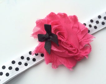 Hot Pink Flower Headband - Girls Headband - Baby Girl Headband - Newborn Headband - Girls Flower Headband - Flower Hair Bow - Infant Bow
