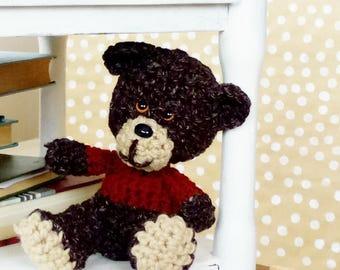 Bear Toy Knitted - Teddy Bear Prop - Hand Knit Plush Toy - Plush Animal - Crochet Brown Bear - Stuffed Animal - Godchild Gift - Godparent