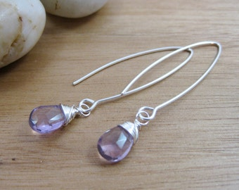 Amethyst Earrings Sterling Silver Purple Gemstone Earrings Rose de France Amethyst Dangle Earrings February Birthstone Jewelry - Essence