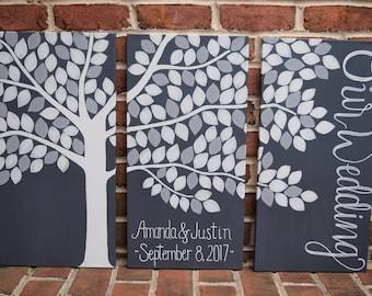 Alternative Guestbook Tree Large Wedding Tri Panel Family Tree Canvas Guest Book Custom Wedding Guestbook Idea Keepsake
