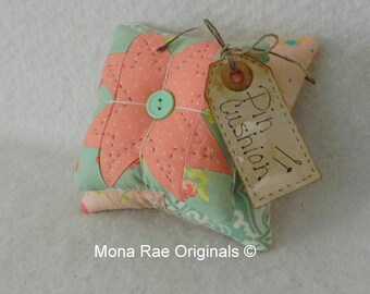 Pin Cushion - Original Design Pin Keeper ~ Mothers Day Gift,Quilter Gift, Sewing Gift ~ Mint Green, Peach and Pink Pin Cushion