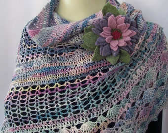 Crocheted Lace Wrap with Handmade Flower Pin