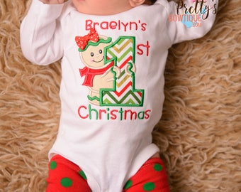 1st Christmas Baby Girl 5-Piece Outfit-- First Christmas Gingerbread with Shirt or Bodysuit, Leg Warmers, Tutu, Bloomers and Headband