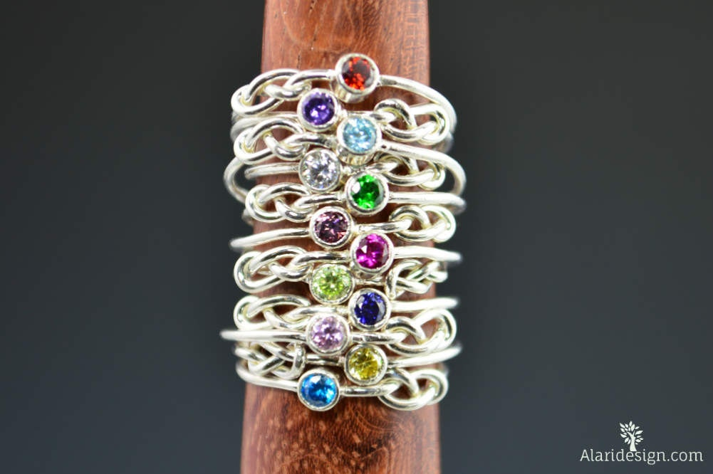stackable knot fullxfull march listing mothers birthstone gold rings band hkjf il infinity ring filled rose aquamarine