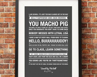 Saved By The Bell Quotes - Jpeg - A4 + Letter + 8x10 - INSTANT DOWNLOAD - Digital Print - Wall Art - Printable Poster