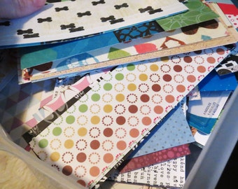 100 scrap paper pieces, pieces of scrapbook paper, scrap book scraps, paper destach, crafting paper, pieces of printed paper patterned paper