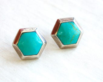 Geometric Turquoise Earrings Vintage Mexican Sterling Silver Hexagon Dyed Blue Howlite Large Statement Posts