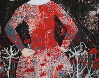 Remembrance, monotype print, gelli-print, mixed media, original art