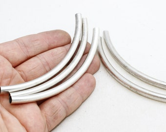 10 Pcs 6x110mm Antique Silver Tubes, Curved Tubes, Curved , KSM110