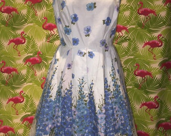 Blue floral vintage border print dress