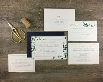 Invitation Suite | Greenery | Modern Boho Greenry Foliage Wedding Invitation | DEPOSIT LISTING