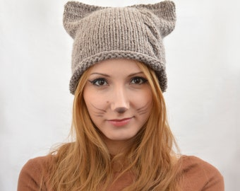 Handmade Knit Square Cat Ear Hat, Hat with Braid, Cat Beanie or Knitted Cat Hat, Women's Knit Hat, Winter Fashion Accessories, Chunky Hat