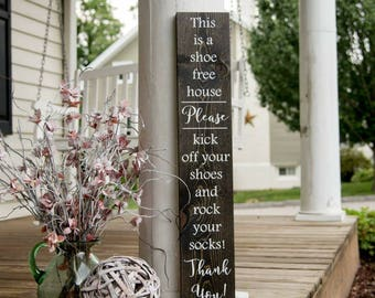 Rock your socks wood sign.  No shoes, front door, porch sign, welcome sign, remove your shoes, shoe free house sign, door decor, porch decor