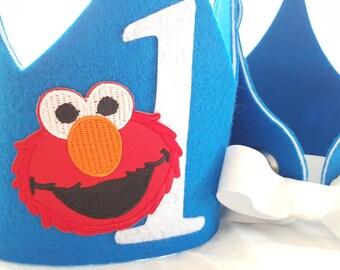 Elmo Birthday Crown - Elmo Party Hat - Sesame Street Birthday- Kids Sesame Street Birthday