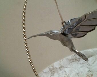 PURPLE 3-D Cast Hummingbird stained glass suncatcher