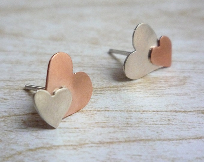 Silver and Copper hearts stud earrings - asymmetrical earrings - small heart earrings