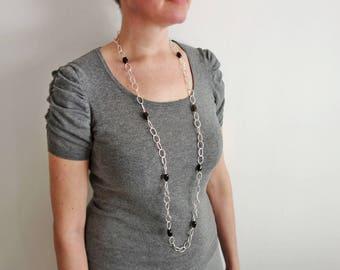 Large chain necklace smoky quartz stones long chain necklace very long necklace for women