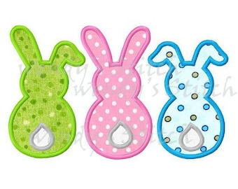 Easter bunny applique three bunnies machine embroidery digital pattern