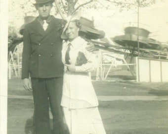 1930s Oklahoma Couple at the Fair Carnival Ride Roller Coaster Husband Wife 30s Vintage Photograph Black White Photo