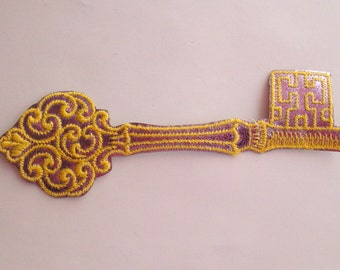 Shiny Yellow and Lilac Purple Skeleton Key Vintage Sewing Patch Applique 1970's