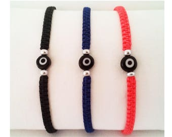Evil eye waxed cord bracelet kids women men teens Greek simple evil eye wristband cuff String devils eye bracelet