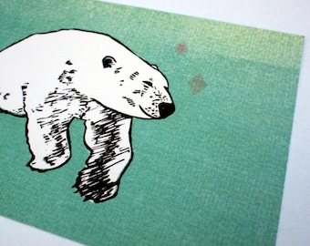 3 postcards - Polar bear - A6 - 100% ECO